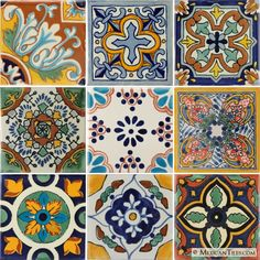 mexicantiles.com Mexican Tiles, Mexican Folk Art, Mosaic Tiles, Mosaics, Tile Painting, Tile Stairs, Mexican Ceramics, Spanish Tile, Arte Popular
