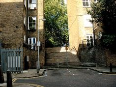 """Riceyman Steps off Kings Cross Road, """"one of the most impressive physical remnants of the Fleet"""": """"best known as the title of a novel by Arnold Bennett, but the original Riceyman Steps date back to the early eighteenth century. They led down to a landing-stage on the Fleet – a kind of riverside taxi rank, where you could wait for a ferryman to take you downriver to the city."""""""