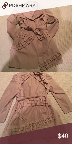 Ruffled Trench Coat w/ belt Perfect addition to add to your coat collection ladies! Very gently used item with lots of love and warmth left.   Fully lined! No stains, just needs a dry cleaning. Ashley Stewart Jackets & Coats Trench Coats