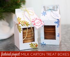 Mini Milk Carton Treat Boxes | Damask Love Blog (scalloped rectangle die used to create a window; lined with acetate?)