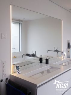 Precise mass recording was crucial in this bathroom mirror. Mirror With Lights, Hand Washing, Bathroom Interior, Double Vanity, Ikea, Interior Decorating, Sweet Home, Sink, New Homes