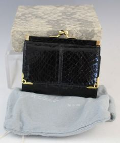 Judith Leiber Black Snakeskin Italian Leather Cabachon Gem Ladies Wallet w  Box 8152669b57