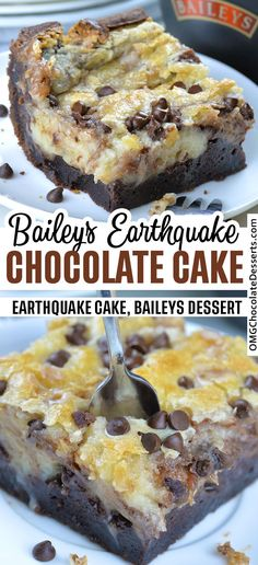 Baileys Earthquake Cake is delicious, gooey chocolate cake, loaded with Bailey's Irish Cream liqueur in every single bite. Authentic Mexican Recipes, Gooey Chocolate Cake, Chocolate Desserts, Gooey Cake, Chocolate Decorations, Dessert Simple, Baileys Irish Cream, Irish Cream Cake, Baileys Cake