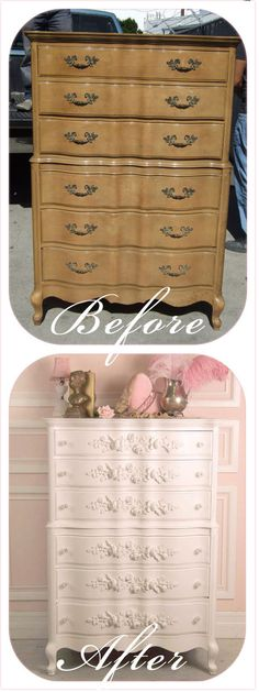 I'm ready for weather in which I can refinish a dresser like this - such great shape and interesting style!
