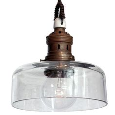 Industrial Glass Pendant with Brass Filter.