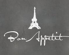 Bon Appetit 8x10 print with Eiffel Tower Sketch por SayItSweet