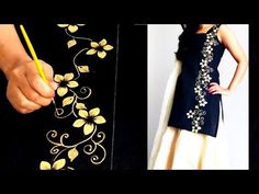 DIY : DESIGNER KURTI | How to Paint a free hand Border Design on Kurti | Fabric Painting - YouTube
