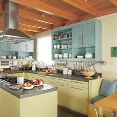 remodeled vintage kitchen with green cabinets  thisoldhouse.com