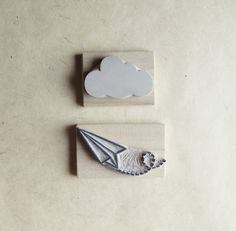 NEW Paper Plane and Cloud Rubber Stamp Set Air Mail Hand Carved op Etsy, 13,41 €
