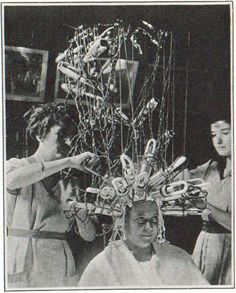 Capelli #anni20 #haircut20 #hairhistory Charles Nestle's first permanent waving machine