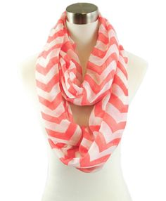 New Chevron Infinity Scarf Coral - $18