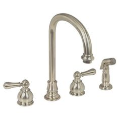 This kitchen faucet features a swivel style and double lever handles. Complete with a nickel finish, this kitchen faucet will make a great addition to any home decor. <br><br><ul><li>All brass constru...