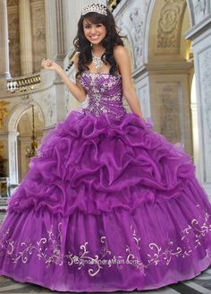 Beautiful Strapless Ball Gown Embroidery Purple Quinceanera Dress with Beading