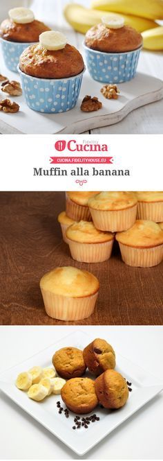 Muffin alla banana Biscotti, Cake Recipes, Cereal, Muffins, Food And Drink, Cupcakes, Snacks, Cookies, Eat