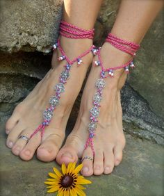 BRIDAL BAREFOOT SANDALS hot pink blueberry lilac filigree flowers crochet foot jewelry gypsy hippie slave anklet fuchsia Beach Wedding.