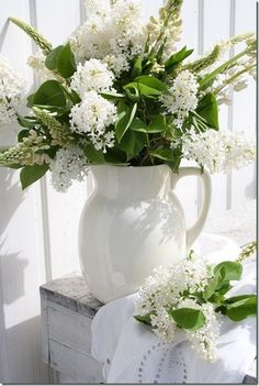 white flowers and pitcher White flowers are beautiful and elegant. | #flowers #white_flowers