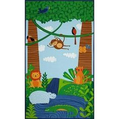 Rainforest Fun Quilt Panel - Quilt Kit 100% Cotton Fabric Monkeys Animals
