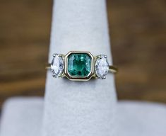 Vintage 18k Gold 2.04 ctw Natural Emerald and Diamond Ring