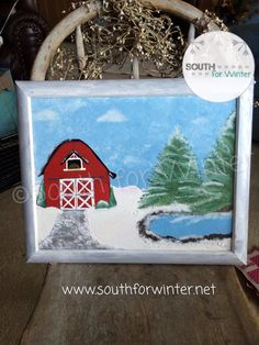 red barn in winter painted framed canvas by south4winter on etsy
