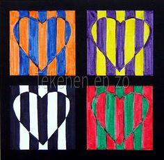 & grade Kids Artists: Op art in complementary colours--Valentine's Day art? Artists For Kids, Art For Kids, Art 2nd Grade, Grade 1, Classe D'art, Pop Art, Ecole Art, Valentines Art, School Art Projects