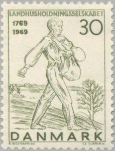 Sello: Sower (Dinamarca) (Royal Danish Agrarian Household Assoc'n - Bicentenary) Mi:DK 474,Sn:DK 453,Yt:DK 485,Sg:DK 498,AFA:DK 477