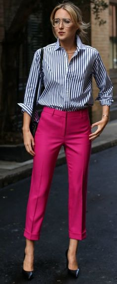 #fall #style #looks Stripes + Fuchsia