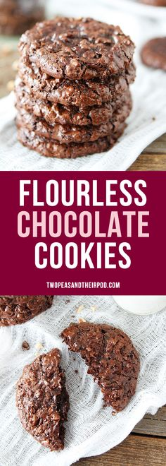 Flourless Chocolate Cookies-the BEST chocolate cookie recipe and they are gluten-free! You want miss the flour because these cookies are LOADED with chocolate!