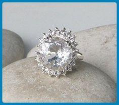White Topaz Engagement Ring- White Gemstone Promise Ring- Halo Anniversary Ring- Alternative Solitaire Engagement Ring- Bold Statement Ring - Wedding and engagement rings (*Amazon Partner-Link)