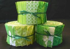 Lime Green Jelly Roll Fabric Strips - Quilt Strips Jelly Roll - SEW FUN QUILTS Time Saver Quilt Kit via Etsy.