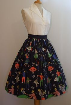 Rare Vintage 1950s Novelty Rock 'n' Roll Dancers Print Full Rockabilly Cotton Skirt Small S