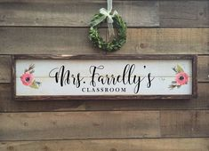 Excited to share this item from my shop: Teacher name sign, classroom decor, framed shiplap wood sign Lake House Signs, Cottage Signs, Wood Name Sign, Wood Signs, Teacher Desk Areas, Teacher Name Signs, Shiplap Wood, Classroom Themes, Kindergarten Classroom