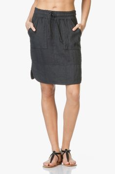 BY-BAR - By-Bar Linnen Rok - Off Black