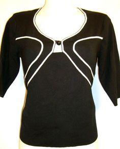 L~Black White Trim Sweater Knit TOP~Work~V-Neck~Button Keyhole~Rockabilly~Punk~Retro