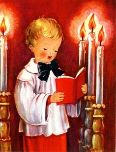 Vintage Fravessi Lamont Christmas Greeting Card Choir or Alter Boy 3008