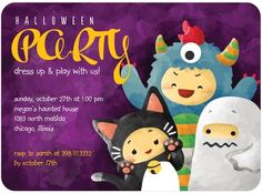 Looking for kid-friendly Halloween party invitations? This sweet design features not-too-scary costumes! Personalised Party Invitations, Invitation Card Party, Halloween Party Invitations, Halloween 2013, Spooky Halloween, Halloween Ideas, Scary Costumes, Tiny Prints, Parenting