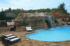 Recent Projects: Rock Cave / Pool House - This massive artificial rock cave serves as a pool house. - Virginia
