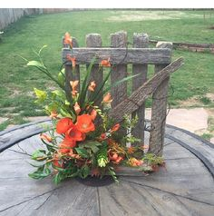 Weathered Wood and Silk Floral Arrangement by Lyndasjunk on Etsy