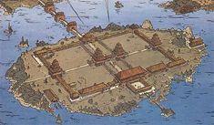 """L'empereur de Chine, tome 17 des aventures d'Alix. Le palais d'été de l'empereur est une réplique """"miniature"""" de la cité interdite. Une seule enceinte, mais plusieurs portes qui filtrent les visiteurs. Les marchands sont refoulés à l'extérieur. La chine est """"le centre du monde"""" pour ses occupants, l'empereur doit nécessairement se trouver au centre des bâtiments."""