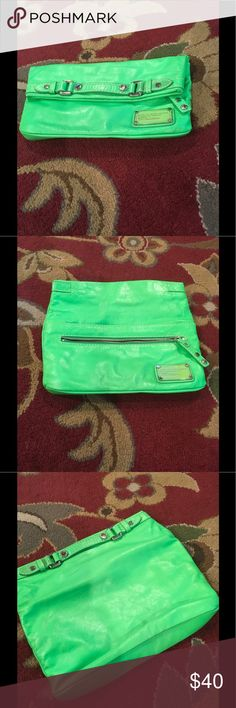 Marc Jacobs bright Kim green leather clutch, Never used this, brand new I will try and find the dust bag ...cool bright lime green leather, zip top fold over , lots of room, perfect summer going out clutch...hard to find this color ! Marc Jacobs Bags Clutches & Wristlets
