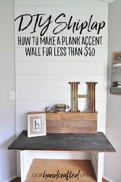 How to Make a Plank Wall - make your own DIY Shiplap with plywood using this simple tutorial. This white shiplap wall cost us less than $50 and was so simple to install. Check out our process for spacing, sanding, and painting the faux shiplap accent wall in your own house. You could add shiplap boards using this tutorial to a shiplap fireplace or a shiplap ceiling. Using plywood as shiplap wood looks just like shiplap paneling, but much cheaper! - Our Handcrafted Life