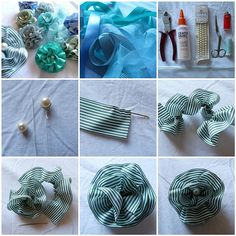 Ribbon flower tutorial. Good idea to hot glue to ballet flats! Maybe a rhinestone in the center.