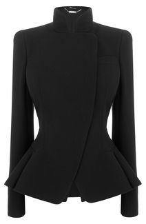 Black Crepe Wool Asymmetric Bustle Jacket