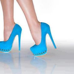 See more Ladies high heel sky blue close shoes