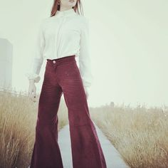 """Une femme Parisienne, a Athenes.  Ft.The corduroy flairs in lucius Berry & """"The cream Bishop"""" shirt  #lemoutonbleu #bellbottoms #fairs #burgundy #corduroy #handmade #fashion #style"""