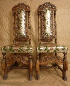 embossed upholstered antique chairs