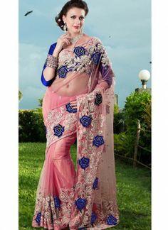 Flattering Light Pink Net Saree