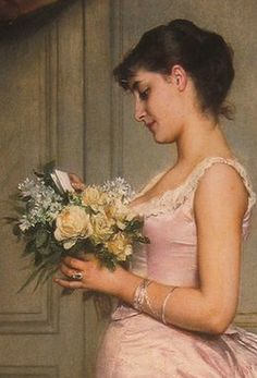 ⊰ Posing with Posies ⊱ paintings of women and flowers - Auguste Toulmouche | Le Billet (detail)
