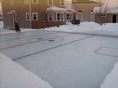 Backyard hockey rink...if I ever have children, they will have one of these every winter :)