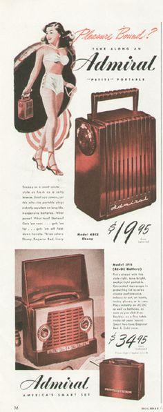 Vintage 1940s Admiral Petite Portable Radio Ad