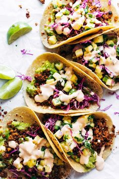 Walnut Chorizo Tacos with Pineapple Salsa! Spicy walnut/cauliflower meat fres Walnut Chorizo Tacos with Pineapple Salsa! Spicy walnut/cauliflower meat fresh guacamole tangy slaw and a homemade pineapple salsa. My favorite tacos! Source by pinchofyum Chef Recipes, Whole Food Recipes, Vegetarian Recipes, Vegan Vegetarian, Healthy Recipes, Vegan Food, Spinach Recipes, Vegetarian Dinners, Tofu Recipes